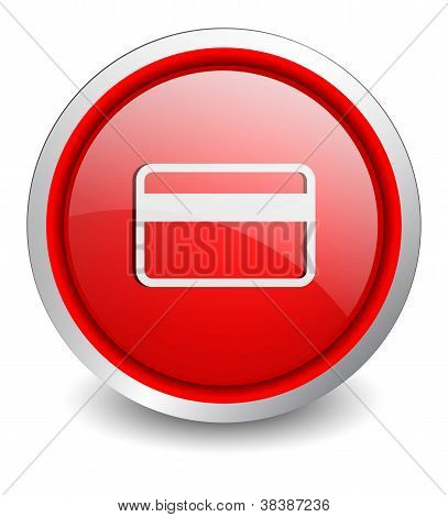 creditcard red button - design web icon