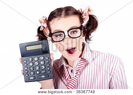 Isolated Finance Business Woman Holding Calculator