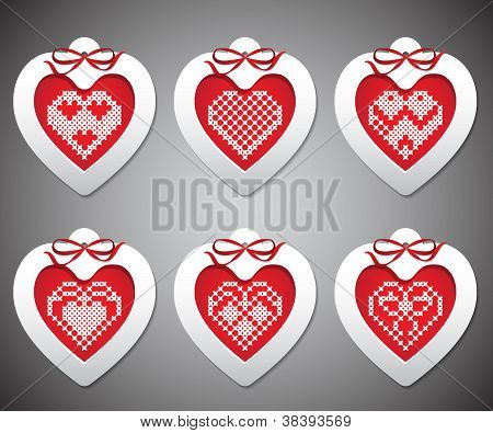 Vector set of embroidered with New Year hearts