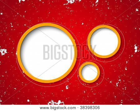 Bubbles On Red Grunge Background