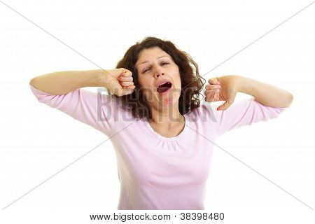 Woman Yawns And Stretches