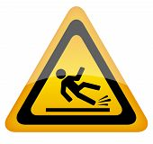 stock photo of slippery-roads  - Wet floor warning sign eps10 vector illustration - JPG