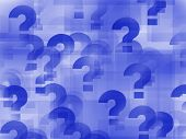picture of question-mark  - a composition of question marks on blue background - JPG