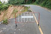 image of landslide  - Danger of damage road from landslide in Thailand - JPG