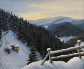 image of house woods  - An oil painting on canvas of a winter fairy tale magic in Rhodope Mountains - JPG