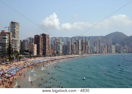 View Of Lavante Beach In Benidorm Spain