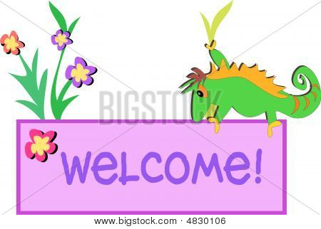 Chameleon On Welcome Sign