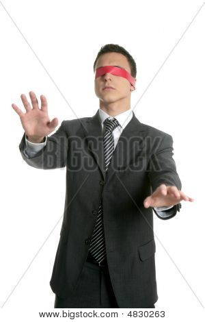 Red Tape Blindfold Businessman Isolated