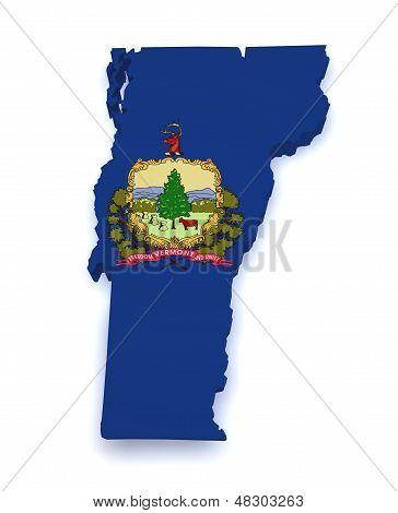 Vermont Map Flag 3D Shape