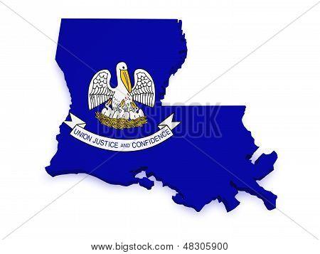 Louisiana Map Flag 3D Shape