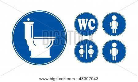 Blue Bathroom Icons Set