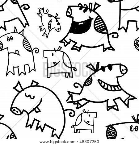 Pigs And Piggys Seamless Pattern