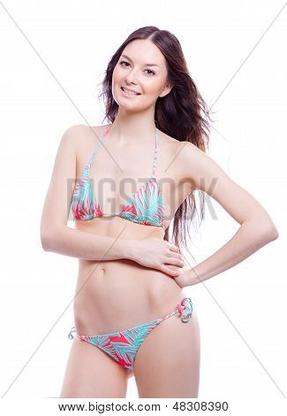 smile woman in bathing suit