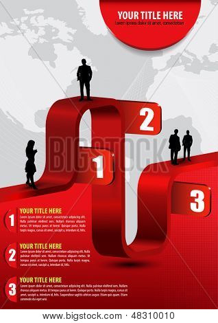 Vector abstract business background with graph, people, continents and place for text