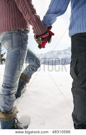 Rear view of a couple holding hands and walking through snow