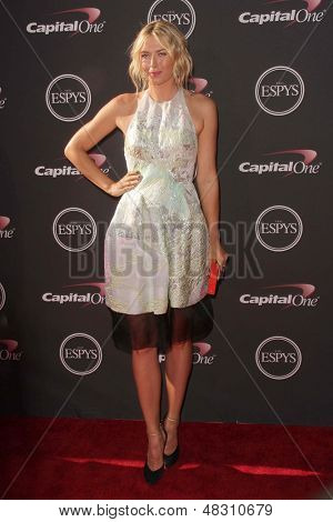 LOS ANGELES - JUL 17:  Maria Sharapova arrives at the 2013 ESPY Awards at the Nokia Theater on July 17, 2013 in Los Angeles, CA