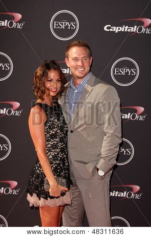 LOS ANGELES - JUL 17:  Melissa Rycroft, Ty Strickland arrives at the 2013 ESPY Awards at the Nokia Theater on July 17, 2013 in Los Angeles, CA
