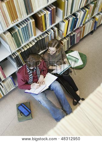 Elevated view of two students siting on floor and doing homework in library