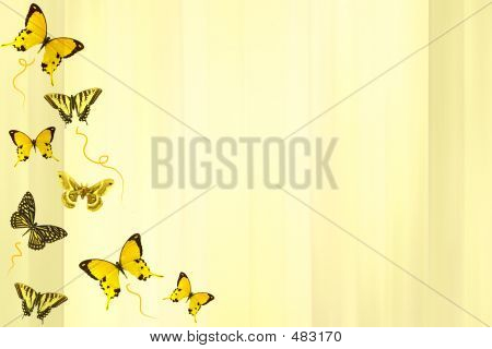 Butterflie Background Over Yellow.
