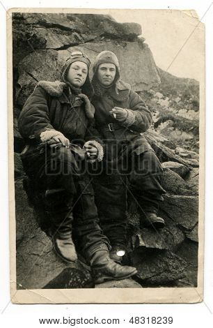 PROCHOROVKA, BELGOROD REGION, USSR, CIRCA 1943: Antique photo, portrait of a two fighter pilot in uniform, circa 1943