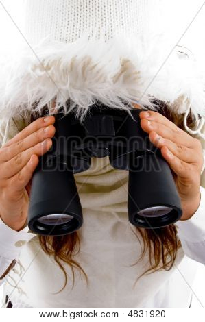 Young Woman Holding Binocular