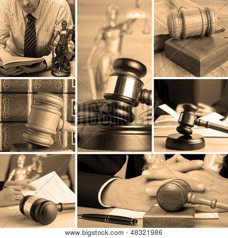 Conjunto de mazo de madera y la ley 5