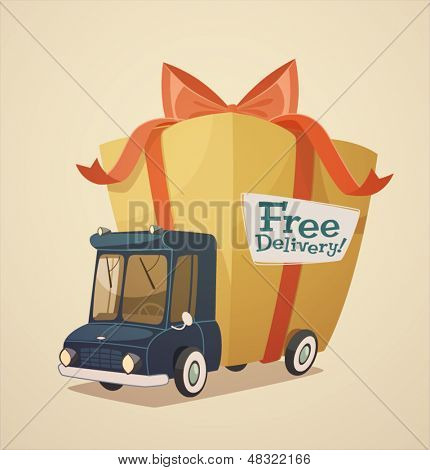 Delivery truck with gift. Shipping concept.