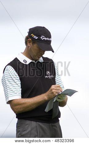LOCH LOMOND, SCOTLAND - JUL 09 2009; Loch Lomond Scotland; Retief Goosen (RSA) competing in the first round of the PGA European Tour Barclays Scottish Open golf tournament.