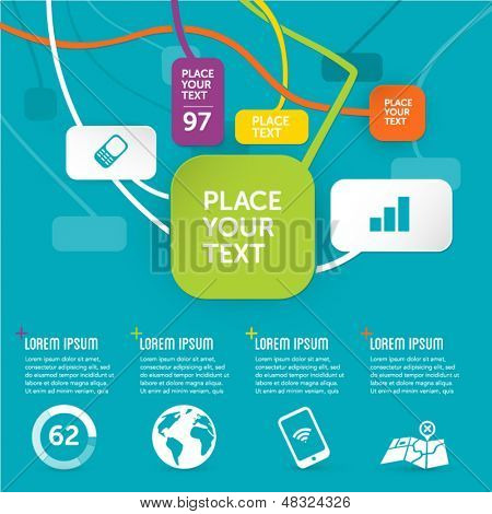 funky paper graphic design template - infographics background