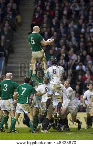 TWICKENHAM LONDON, 27/02/2010. Ireland player Paul O'Connell wins a lineout during the RBS 6 Nations rugby union match between England and Ireland at the Twickenham Stadium.