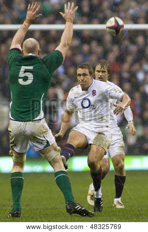TWICKENHAM LONDON, 27/02/2010. Ireland's Paul O'Connell  charges down a kick from Jonny Wilkinson during the RBS 6 Nations rugby union match between England and Ireland at the Twickenham Stadium.