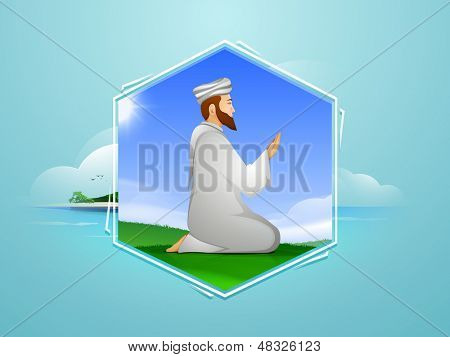 Tag, sticker or label design with young muslim man in traditional dress praying (Namaz, Islamic prayer) on abstract blue background.