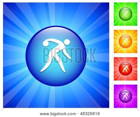 Bowling Icon on Round Button with Blue Glow