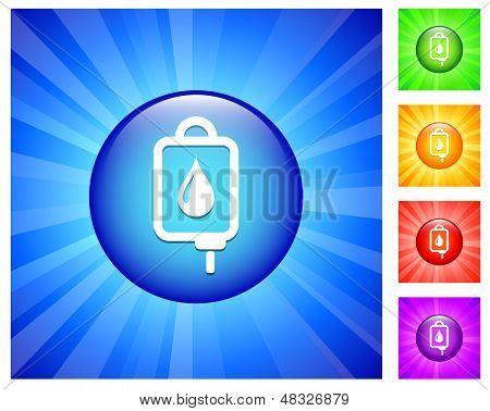 Bloed Drip pictogram op ronde knop met blauwe gloed