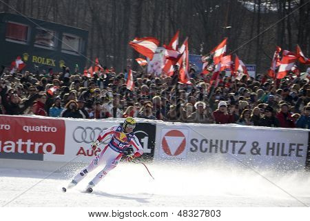 KITZBUHEL TIROL, AUSTRIA - JAN 24 2009; Kitzbuhel Tirol Austria, Hermann Maier (AUT) competing in the Hahnenkamm race  the men's downhill ski race part of the Audi FIS Alpine Ski  World cup.
