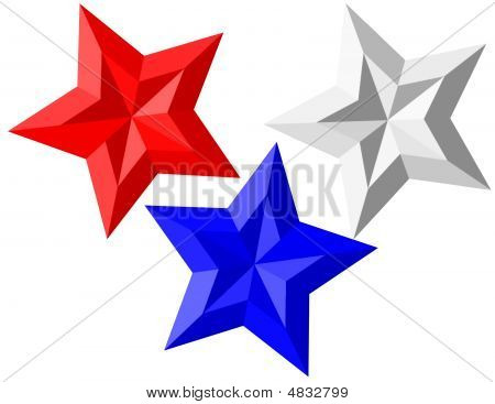 Patriotic Red White Blue 3D Stars Isolated On White