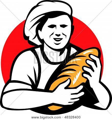 Baker Holding Bread Loaf Retro