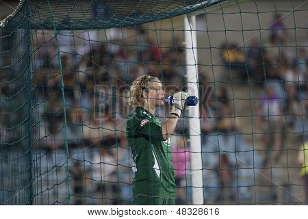 MADRID, SPAIN. 16/05/2010. Potsdam's GK Anna Felicitas Sarholz in action during the Women's Champions League final  played in the Coliseum Alfonso Perez, Getafe, Madrid.