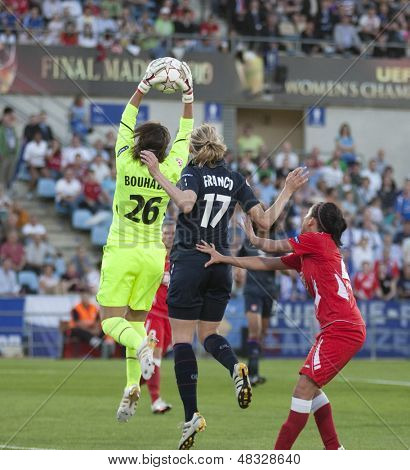 MADRID, SPAIN. 16/05/2010. Olympique's Sarah Bouhaddi and Corine Franco (captain) in action during the Women's Champions League final  played in the Coliseum Alfonso Perez, Getafe, Madrid.