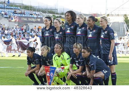 MADRID, SPAIN. 16/05/2010.  Olympique Lyonnais players prior to  the Women's Champions League final  played in the Coliseum Alfonso Perez, Getafe, Madrid.