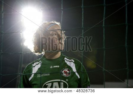 MADRID, SPAIN. 16/05/2010.Potsdam's goalkeeper Anna Felicitas Sarholz in action during the Women's Champions League final  played in the Coliseum Alfonso Perez, Getafe, Madrid.