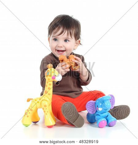 Pretty Little Baby Girl Playing With Animal Toys