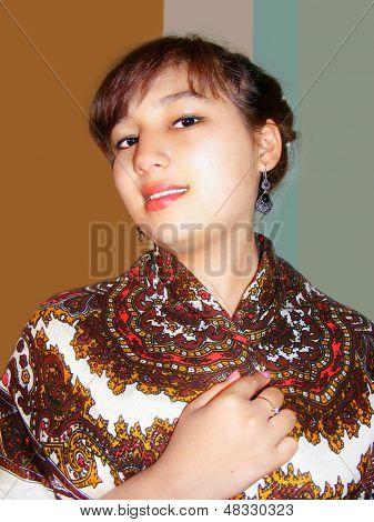 beautiful girl with shawl