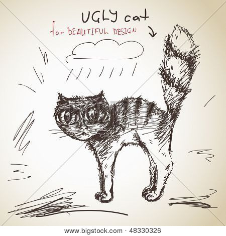 Hand drawn ugly cat