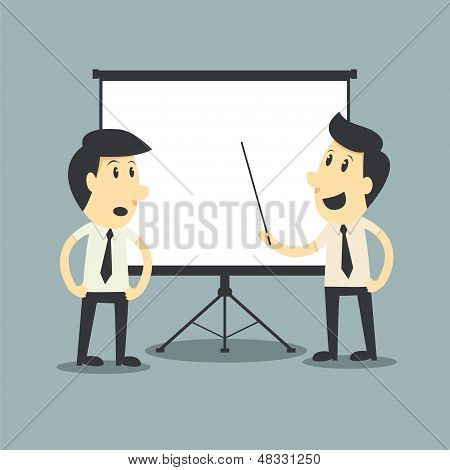 Businessman Presenting, Blank Board