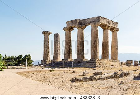 Temple Of Apollo In Ancient Corinth, Greece