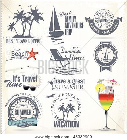 Summer Summer vacation and travel labelsVacation And Travel Labels.eps