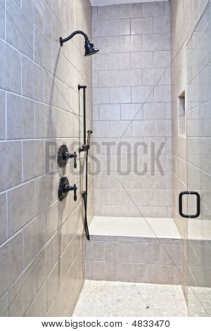 Large Tile And Stone Shower