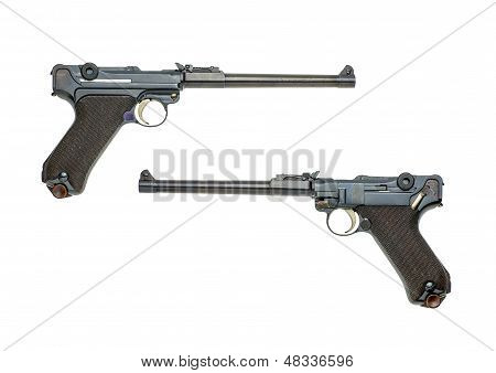 german artillery luger on a white background