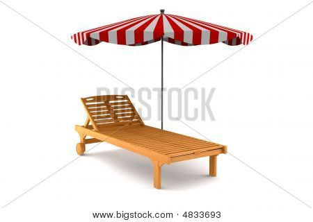 Wooden Beach Chair And Umbrella Isolated On White Background
